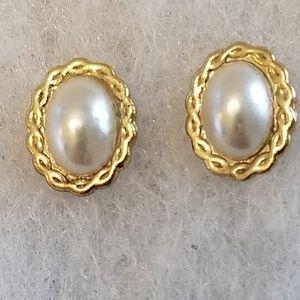 Dainty Tiny Oval Pearl Costume Jewelry Earrings